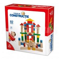 CUBURI DE CONSTRUCTIE COLORATE DIN LEMN - 82 PIESE