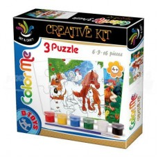 3 PUZZLE COLOR ME - 6,9,16 PCS